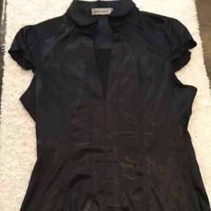 Tops - FITTED BLACK SILKY SHIRT